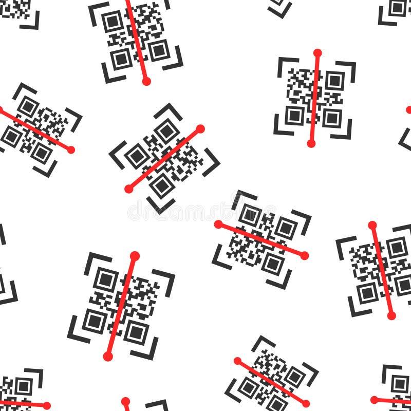 Qr kodu obrazu cyfrowego ikony bezszwowy deseniowy tło Przeszukiwacza id wektorowa ilustracja na bia?ym odosobnionym tle Barcode  ilustracja wektor