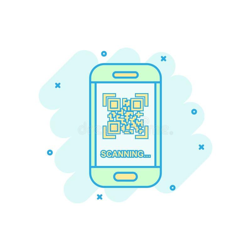 Qr kodu obrazu cyfrowego telefonu ikona w komiczka stylu Przeszukiwacz w smartphone kreskówki wektorowej ilustracji na białym odo royalty ilustracja