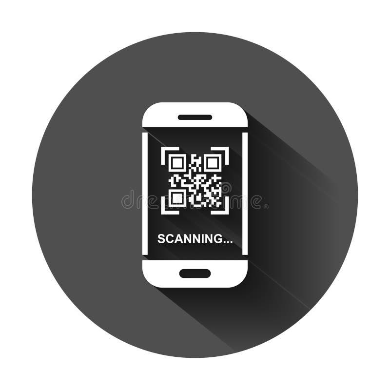 Qr kodu obrazu cyfrowego telefonu ikona w mieszkanie stylu Przeszukiwacz w smartphone wektorowej ilustracji na czarnym round tle  ilustracji