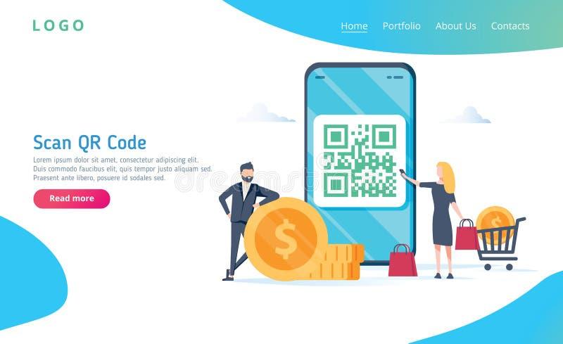 QR kodu skanerowania wektorowy ilustracyjny pojęcie, ludzie używa smartphone, obrazu cyfrowego qr kod dla i zapłaty i everything ilustracja wektor