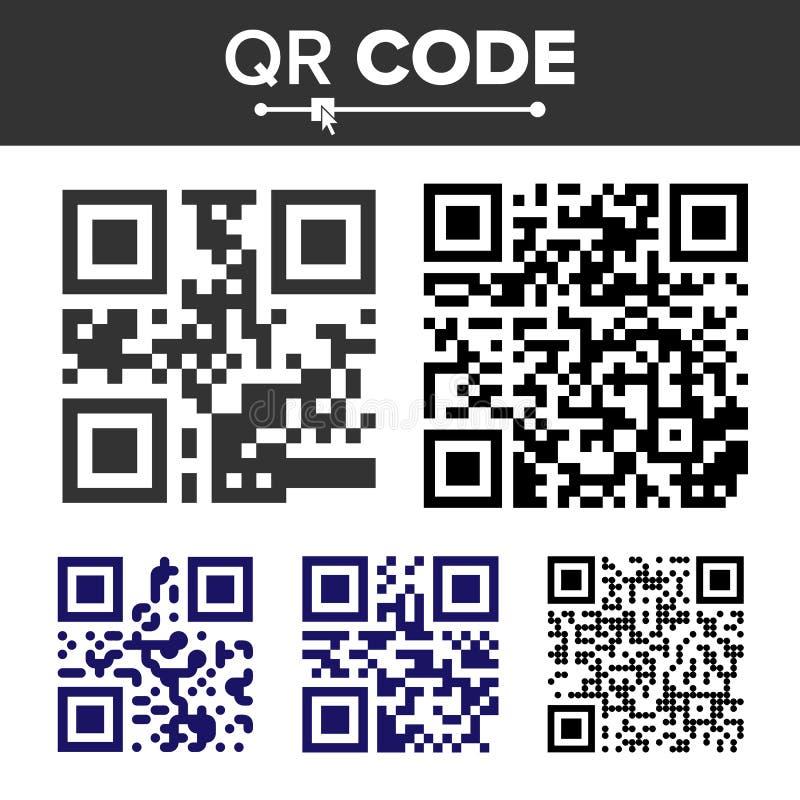 QR kodu Ustalony wektor Różni typ Skanerowanie technologia Chujący tekst Lub Url Odosobniona klasyka QR ilustracja royalty ilustracja
