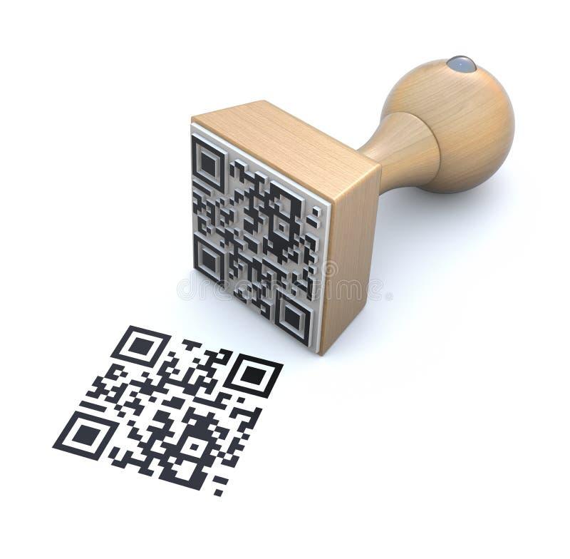 QR rubber stamp vector illustration