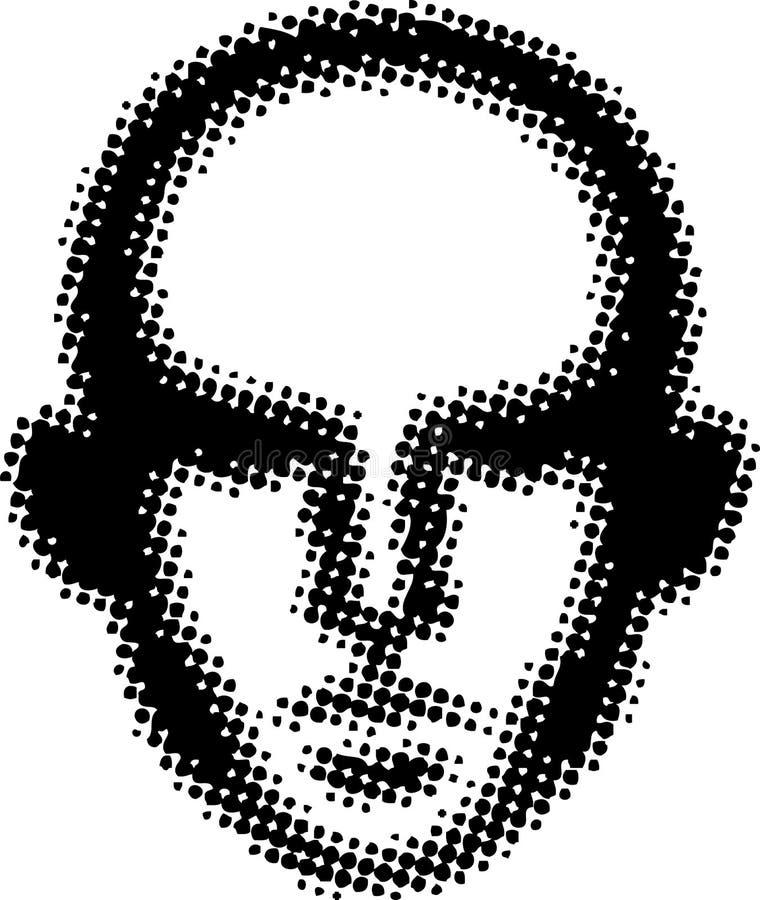 QR-som den stiliserade ståenden av en medelålders geekman royaltyfri illustrationer