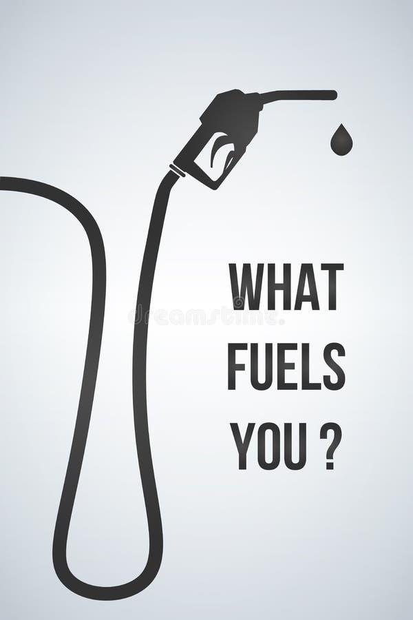 Qué combustibles usted bandera Muestra de la boca de la bomba de gasolina Icono de la gasolinera Estilo plano del diseño Ilustrac ilustración del vector