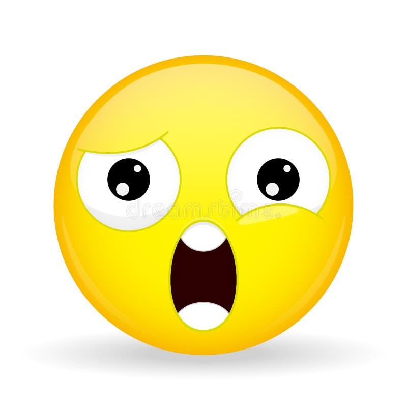 Qué emoji Emoción del choque Emoticon de Wtf Estilo de la historieta Icono de la sonrisa del ejemplo del vector stock de ilustración