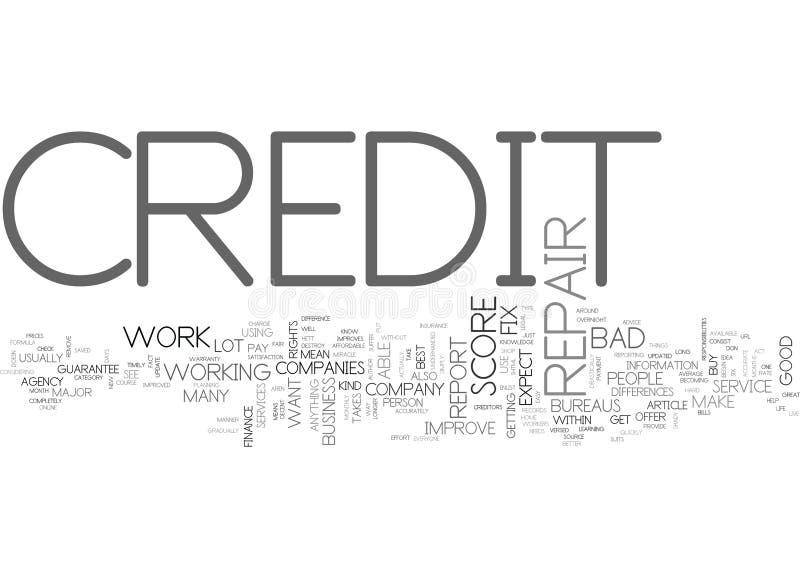 Qué a esperar de una nube de la palabra de Repair Company del crédito ilustración del vector