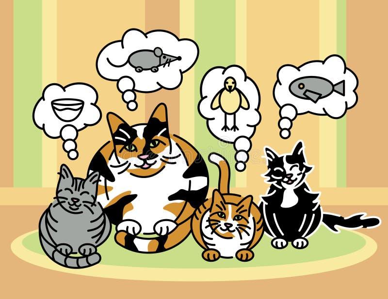 Qué gatos piensan alrededor libre illustration