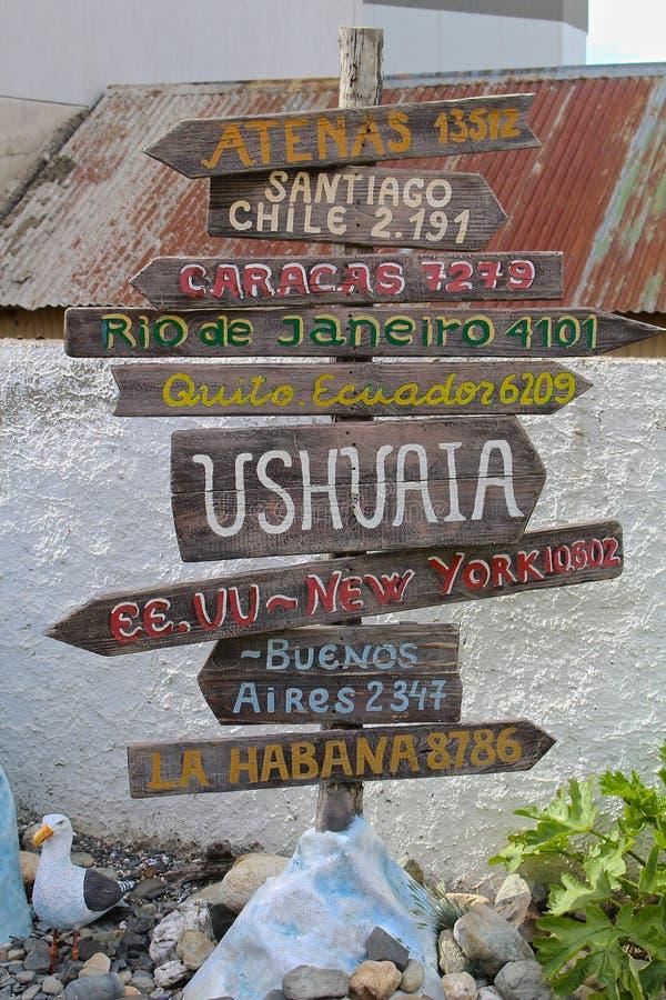 ¿Qué manera a Ushuaia? fotos de archivo
