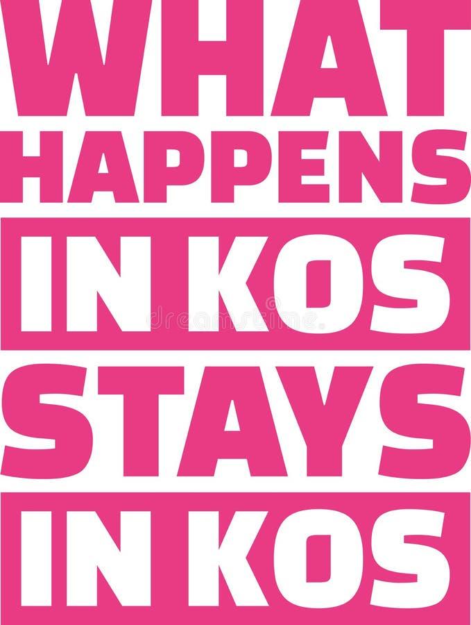Qué sucede en estancias de los kos en kos stock de ilustración