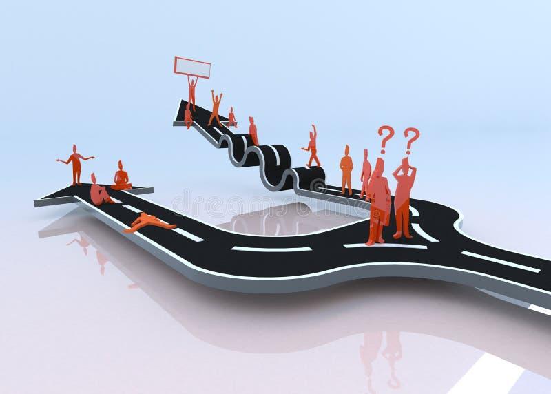 ¿Qué trayectoria usted elegirá? ¿La holgazanería o la dificultad? (3D) stock de ilustración