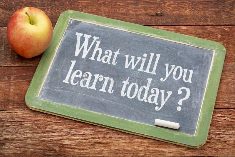 ¿Qué usted aprenderá hoy? Muestra de la pizarra imágenes de archivo libres de regalías