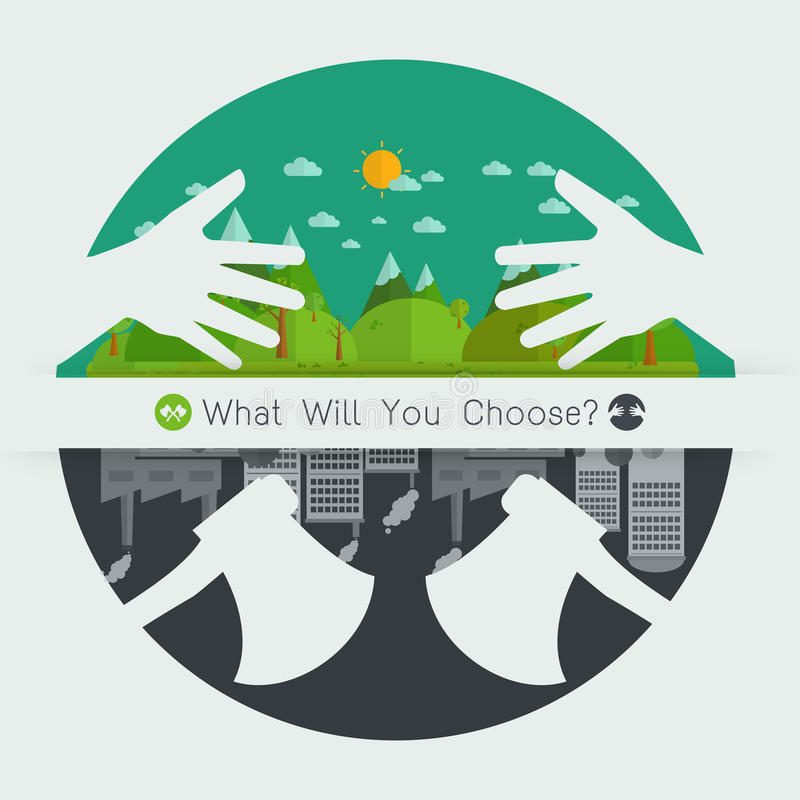 Qué usted elegirá el concepto Eco amistoso o destruirá el ambiente ilustración del vector