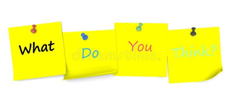 Qué usted piensan, mensaje en el papel de nota con el perno stock de ilustración