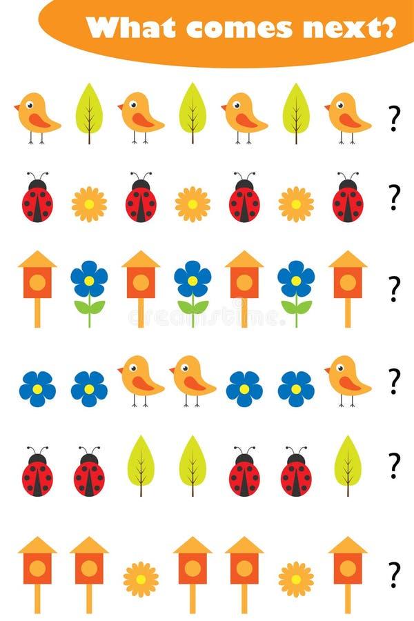 Qué viene después con las imágenes de la primavera para los niños, juego para los niños, actividad preescolar de la hoja de traba libre illustration