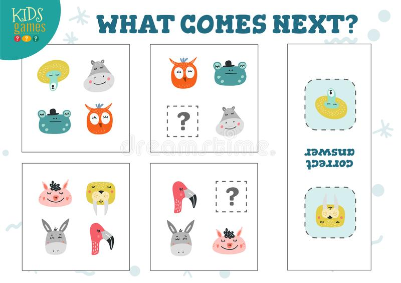 Qué viene ejemplo preescolar siguiente del vector del juego de los niños ilustración del vector