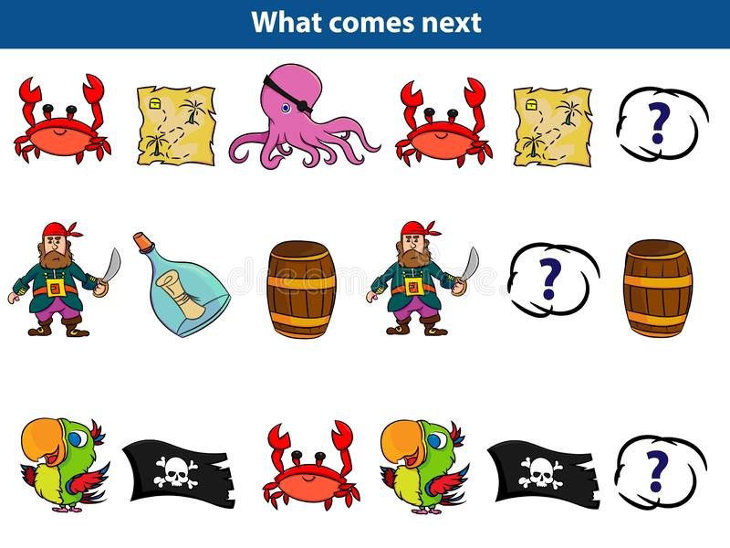 Qué viene juego educativo siguiente para el sistema de los niños de caracteres del pirata de la historieta Ilustración del vector libre illustration