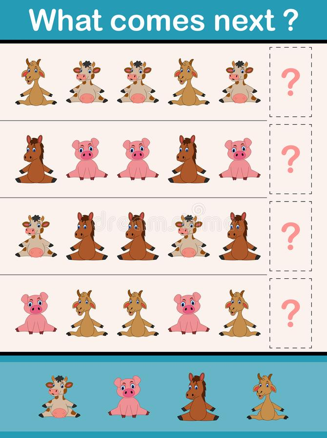 Qué viene juego siguiente de la actividad educativa para los niños preescolares con los animales del campo ilustración del vector