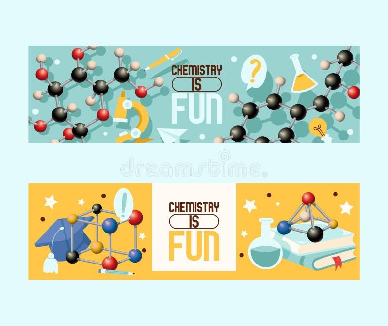 A química é grupo do divertimento de ilustração do vetor das bandeiras Equipamento de laboratório tal como o microscópio, garrafa ilustração royalty free