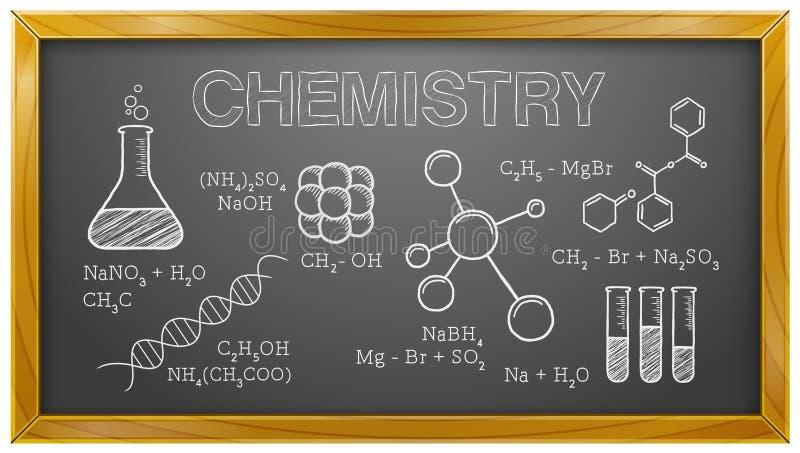 Química, ciência, elementos químicos, quadro-negro ilustração do vetor