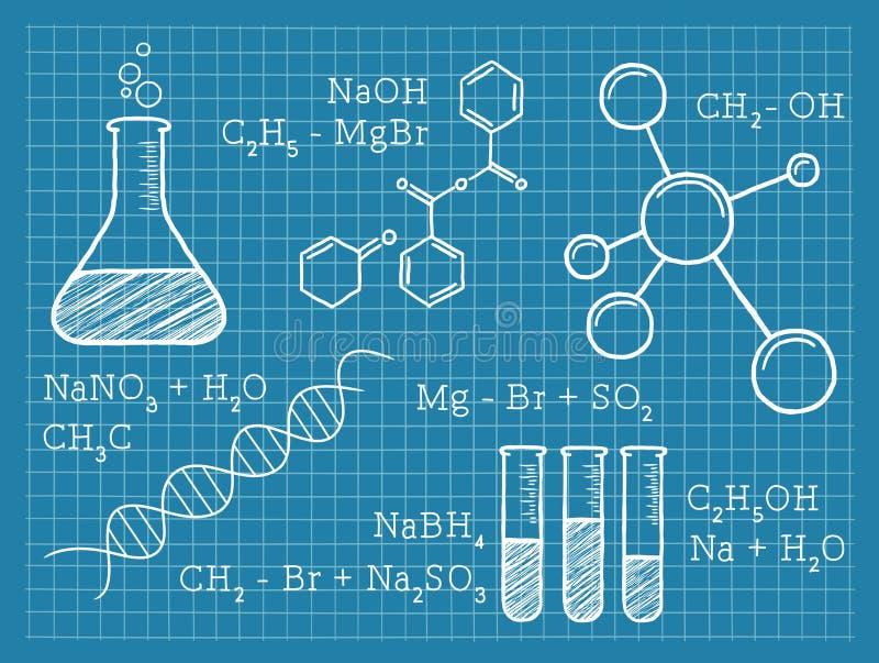 Química, ciencia, elementos químicos ilustración del vector