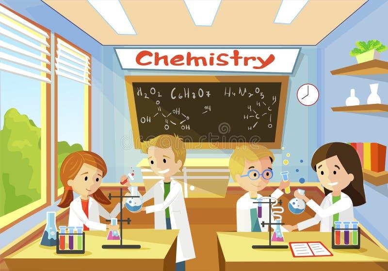 Química elementar da escola da classe para crianças ilustração do vetor