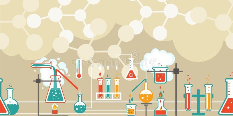 Química infographic em um teste padrão sem emenda ilustração royalty free