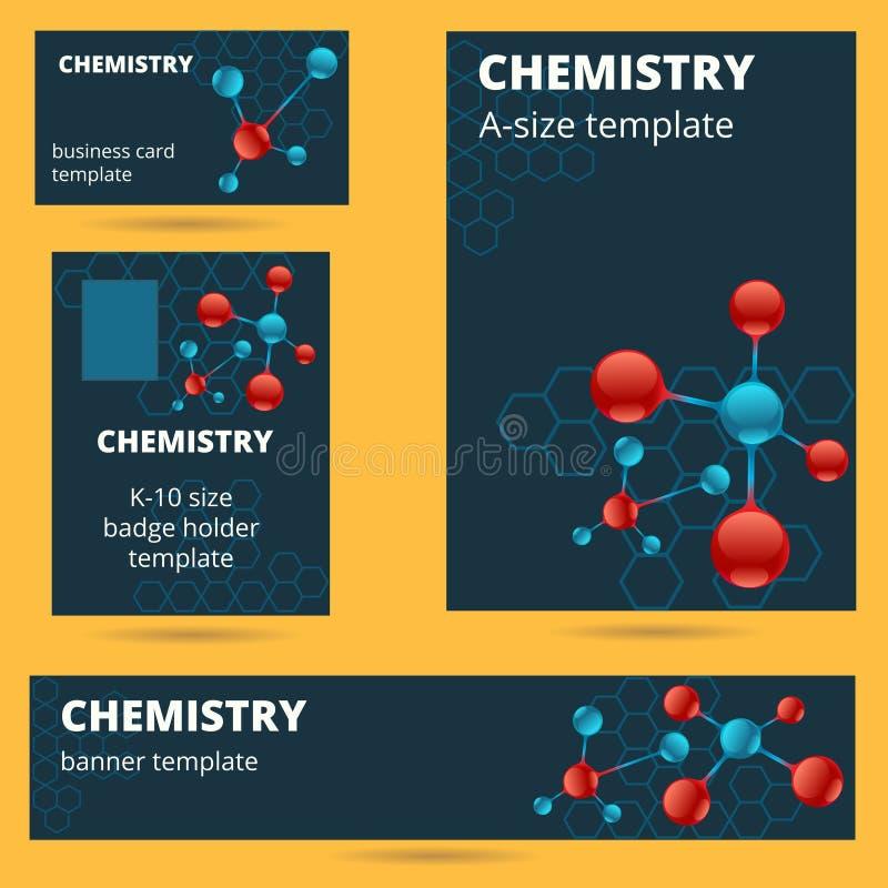 Química, molécula, tarjeta de visita atómica del tema, insignia, cartel a ilustración del vector