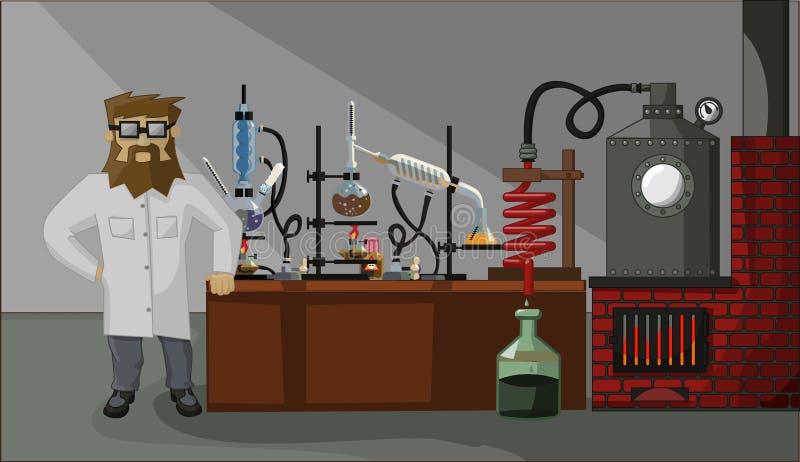 Químico barbudo en el fondo del laboratorio ilustración del vector