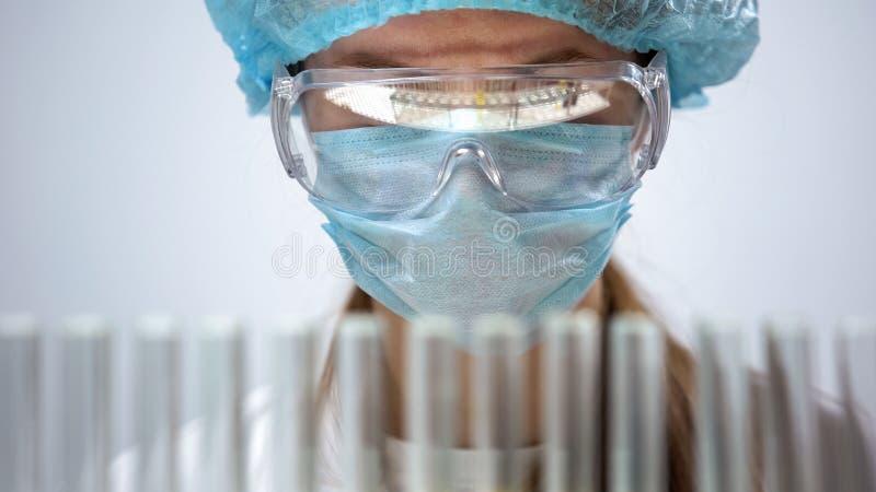 Qu?mico de sexo femenino en la m?scara protectora que mira los tubos de ensayo, investigaci?n biol?gica foto de archivo