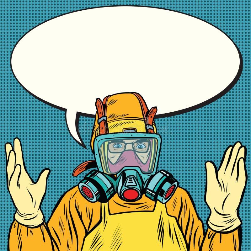 Químico del científico en el traje protector, laboratorio stock de ilustración