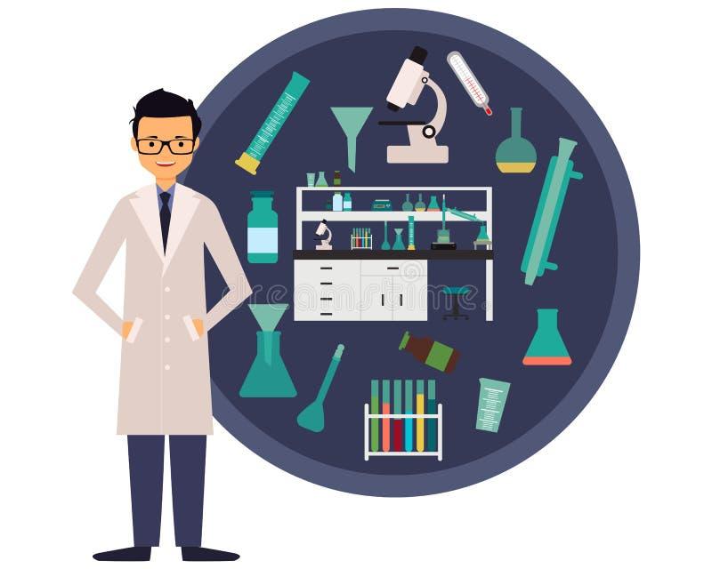 Químico do cientista do local de trabalho ilustração do vetor