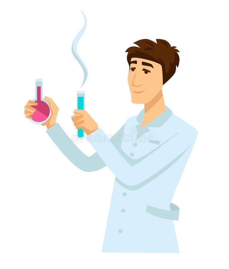 Químico en traje del trabajo con dos frascos por completo de reactivo ilustración del vector