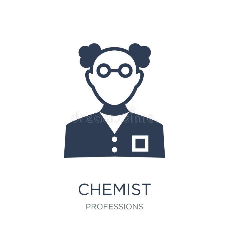 Químico Icon Ícone liso na moda do químico do vetor no backgroun branco ilustração stock
