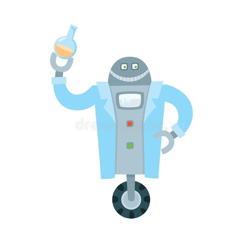 Químico liso do robô do vetor que guarda o tubo de ensaio ilustração royalty free