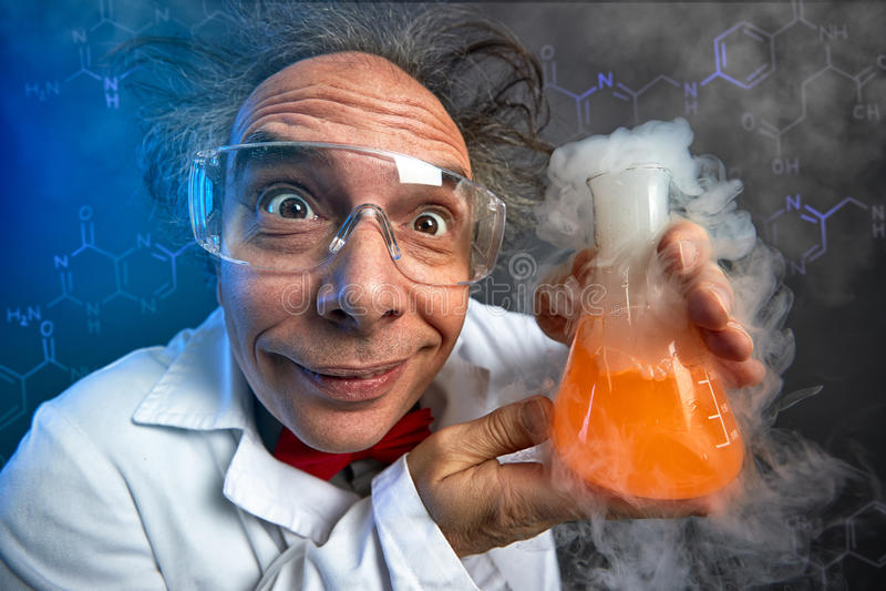 Químico louco com tubo de ensaio imagem de stock