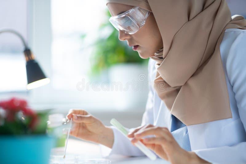 Químico que lleva los vidrios protectores que hacen un cierto experimento imagen de archivo