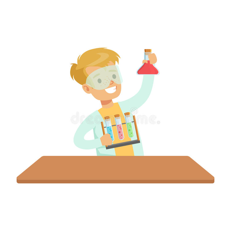Químico And Test Tubes, niño de Biy que hace la investigación de la ciencia de la química soñando con el científico profesional q ilustración del vector