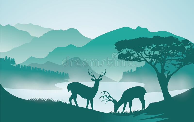 A silent lake landscape with deers royalty free stock photos