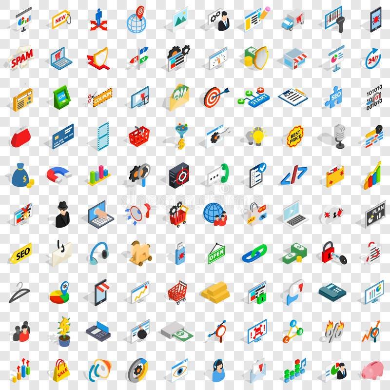 100 qu'il des icônes d'affaires a placés, style 3d isométrique illustration libre de droits