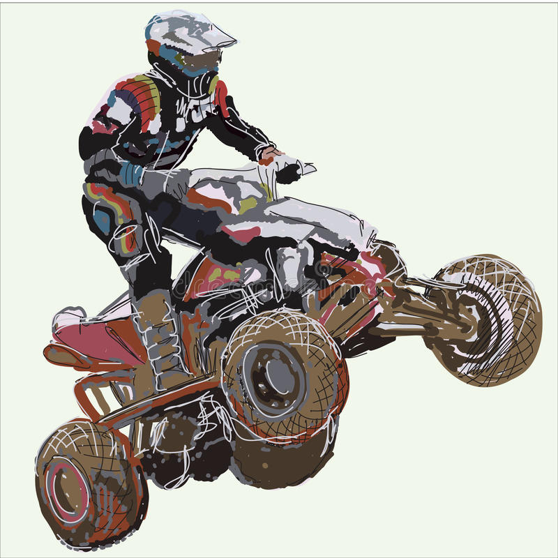 Download Quad bike. stock vector. Illustration of moto, dirt, dirtbike - 19176640