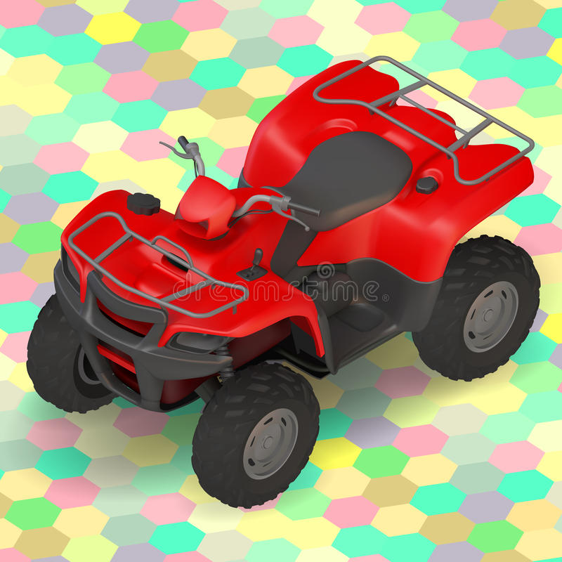 isometric quad bike in rear view stock vector