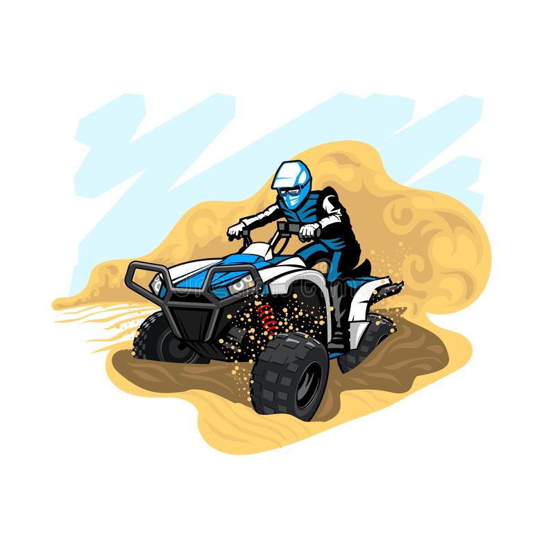 Quad Bike in desert with dust and sand royalty free stock photo