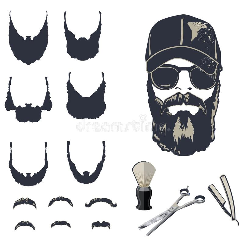 Set of vector bearded men. Hipsters with different haircuts, mustaches, beards vector illustration