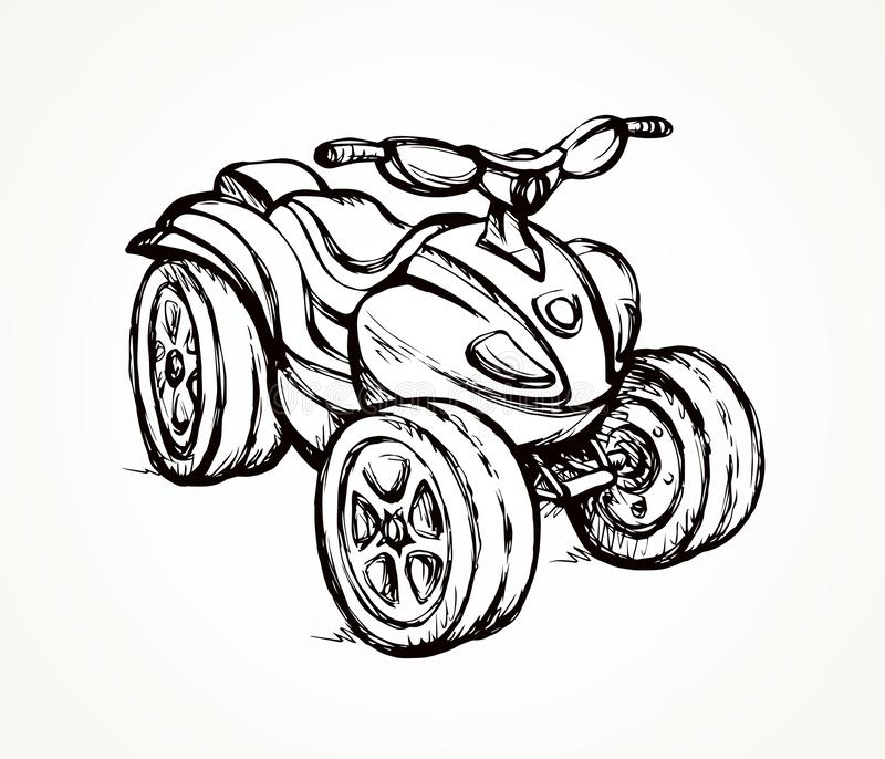 Quad bike. Vector drawing. Big three-wheeler moto machine isolated on white desert sand background. Freehand outline ink hand drawn rally four-track jump scooter royalty free illustration