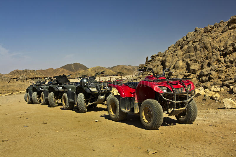 Quad bikes in the desert royalty free stock photos