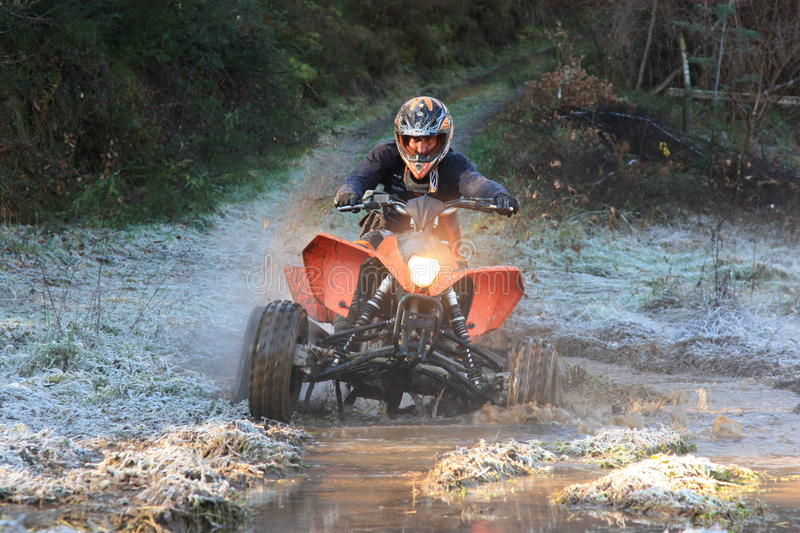 Quad motorbike participating on 4X4 adventure race royalty free stock photo