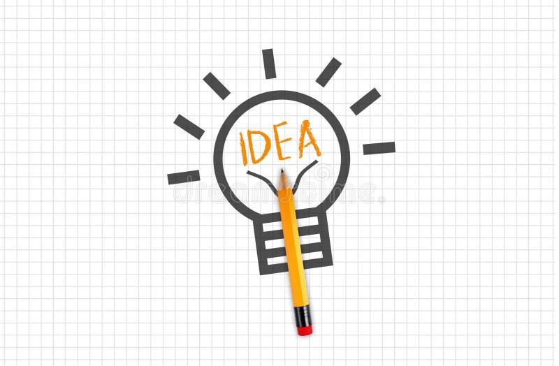 Quad- oder Vierkantpapier mit Bleistiftzwiebel oder Glühbirne mit Ideengesicht lizenzfreies stockbild