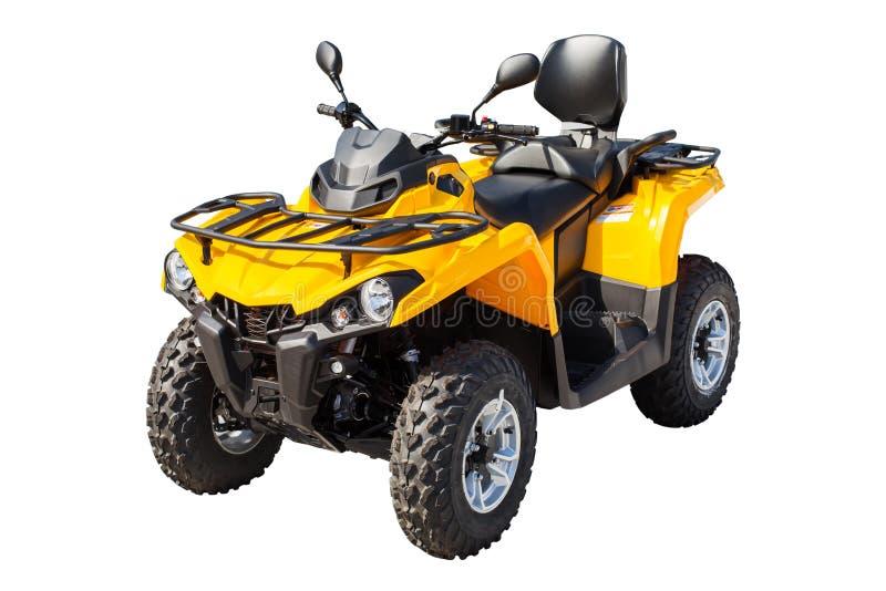 Quadbike giallo di ATV isolato su bianco con il percorso di ritaglio fotografie stock libere da diritti
