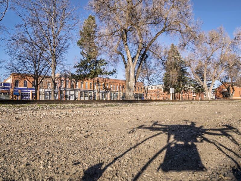 Quadcopter寄生虫阴影和城市 图库摄影