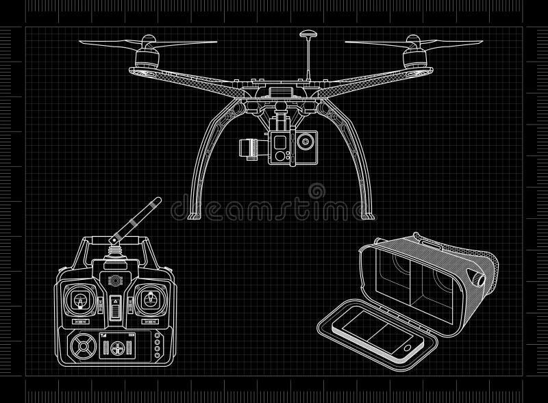 "Quadcopter †""寄生虫用设备 库存例证"